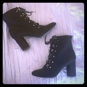 14th & Union faux suede lace up heeled bootie